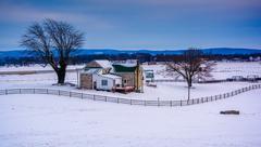 Winter view of a farm in rural adams county, pennsylvania. Stock Photos