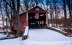Winter view of the heikes covered bridge in rural adams county, pennsylvania. Stock Photos