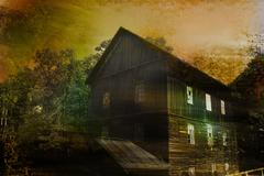 abandoned spooky house in textured background - stock illustration