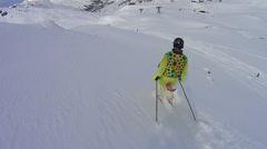 Skiing in deep snow Stock Footage