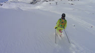 Stock Video Footage of Skiing in deep snow
