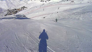 Stock Video Footage of Skiing shadow in Val Thorens