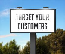 target your customers outdoor billboard - stock illustration