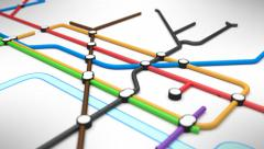 Growing underground tube or subway station map. A network of pipes. - stock footage