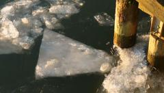 Pilings and River Ice Chunks Stock Footage