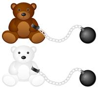 Shackles with teddy bear Stock Illustration
