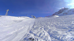 Skiing and snowboarding in Val Thorens Stock Footage