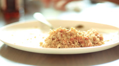 Rice based meal being aten Stock Footage