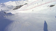 Splashing end of ski trail Stock Footage