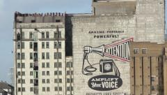 free speach painting on the side of a warehouse - stock footage