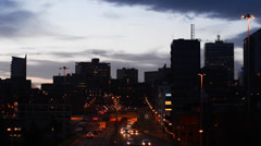 Time lapse leeds city skyline at twilight united kingdom Stock Footage
