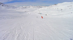 Downhill skiing in high speed Stock Footage
