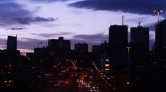 leeds city skyline at twilight united kingdom - stock footage