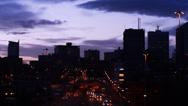 Stock Video Footage of leeds city skyline at twilight united kingdom
