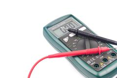 Digital multimeter isolated on white background - stock photo
