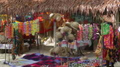 Local people display souvenirs for tourists, champagne bay, vanuatu Stock Footage