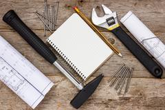 Rakentaminen työkalut tekninen piirustus Kuvituskuvat