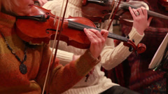 Classical music concert, violins perform instrumental part - stock footage