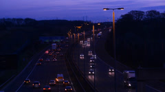 Time lapse of traffic on the A1M motorway at twilight united kingdom Stock Footage