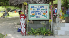 Welcome to champagne beach bar sign, vanuatu Stock Footage
