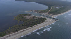 Aerial corsica pond urbino mouth coastline Stock Footage