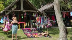 Tourist shops for souvenirs at beach hut, champagne bay, vanuatu Stock Footage