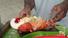 Local man preparing boiled lobster on the beach, vanuatu Stock Footage