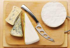 Various types of cheese Stock Photos