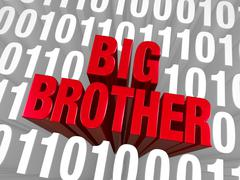big brother emerges from computer code - stock illustration