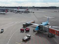 Klm jet airplane on dusseldorf airport apron. Stock Footage