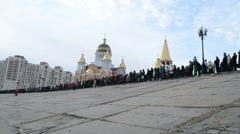 Epiphany near Svjato-Pokrovskiy Cathedral, Kiev, Ukraine. Stock Footage