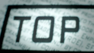 Stock Video Footage of Closeup of Top Secret Stamp.