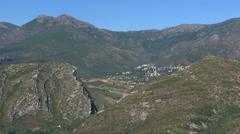 Aerial corsica patrimonio mountains vines Stock Footage