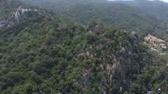 aerial corsica castel ruins mountain - stock footage