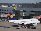 Stock Video Footage of lufthansa airbus a319-114 jet airplane d-ailm on dusseldorf airport apron mai
