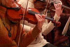 Classical music concert, violins perform instrumental part, click for HD - stock footage