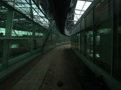 Skytrain h-bahn hanging railway cabin front view perspective dusseldorf airpo Stock Footage