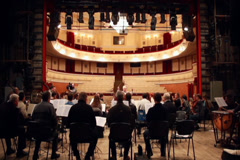 Classical orchestra play live music empty theater scene concert, click for HD - stock footage
