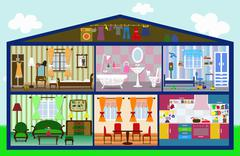 cute house in cut - stock illustration
