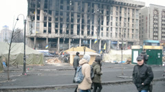 Destroyed buildings during Euro maidan meeting in Kiev, Ukraine. Stock Footage