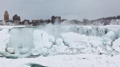 The American Falls in winter, Niagara Falls Stock Footage