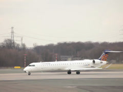 Eurowings canadair crj-900 jet airplane d-acnk taking off dusseldorf airport. Stock Footage