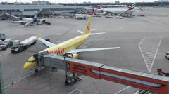 Tuifly airlines boeing 737-8k5 jet airplane d-ahfv dusseldorf airport apron Stock Footage