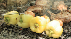 Bell peppers barbecued with pork Stock Footage