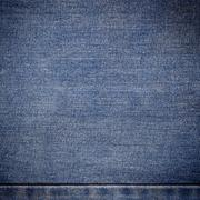 old blue jeans background and texture close up - stock photo