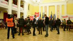 Protesters inside Kiev State City Administration, Euro maidan, Kiev, Ukraine. Stock Footage