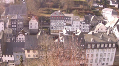 Slate-roofs of Monschau town centre and castle. Stock Footage