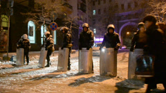 Security police during Euro maidan meeting in Kiev, Ukraine. Stock Footage