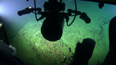 Deep Sea submarine from inside view - 300m deep, THREE CLIP IN ONE! - stock footage