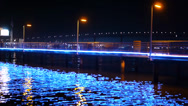Stock Video Footage of Night Pier & Reflection Real Time